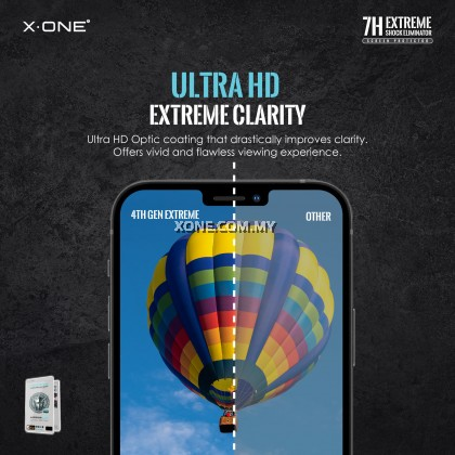 Apple iPhone 12 Mini / 12 / 12 Pro / 12 Pro Max X-One Extreme Shock Eliminator 7H ( 4th Generation ) Full Coverage Screen Protector